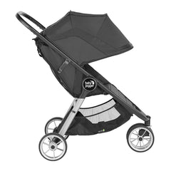Baby Jogger City Mini 2 Single 3 Wheel Stroller (Jet) - side view, shown with seat upright and hood fully extended