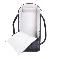 Phil & Teds XL COCOON Soft Carrycot (Black) - showing the cocoon`s interior and zippered front