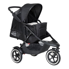 Phil & Teds XL COCOON Soft Carrycot (Black) - quarter view, showing the cocoon fitted onto a buggy (buggy not included)