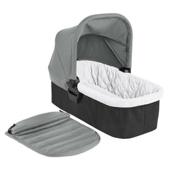 Baby Jogger City Mini 2 Carrycot (Slate) - quarter view, showing the carrycot`s interior and apron
