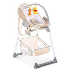 Hauck Disney Sit'n'Relax Highchair (Pooh Cuddles) - quarter view, showing the baby cradle with the toy arch