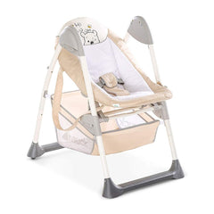 Hauck Disney Sit 'n' Relax Highchair (Pooh Cuddles) - quarter view, showing the baby cradle at a low height