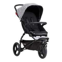 Mountain Buggy Swift - Luxury Collection (Pepita) - quarter view, showing the forward-facing pushchair
