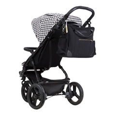 Mountain Buggy Swift - Luxury Collection (Pepita) - rear view, shown here with the satchel hanging from its clips