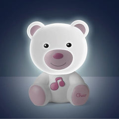 Chicco Dream Light Bear (Pink) - shown here glowing softly in the dark