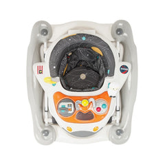 MyChild Space Shuttle 2-in-1 Walker/Rocker (Cosmic Grey) - overhead view, showing the spacious seat and toy panel