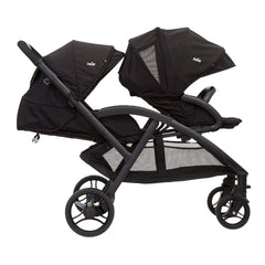 Joie Evalite Duo Stroller (Coal) - side view, shown here with the rear seat fully reclined