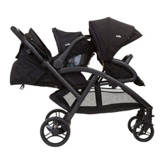 Joie Evalite Duo Stroller (Coal) - side view, shown here with a car seat fixed to the rear seat (car seat not included, available separately)