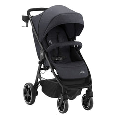 Britax B-Agile M Pushchair (Black Shadow) - quarter view, shown here with its cup holder attached