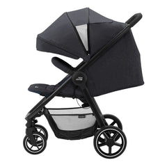 Britax B-Agile M Pushchair (Black Shadow) - side view, shown here with the seat reclined and its hood fully extended
