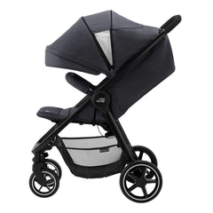 Britax B-Agile M Pushchair (Black Shadow) - side view, shown with the leg rest raised