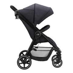 Britax B-Agile M Pushchair (Black Shadow) - side view, shown here with its seat upright