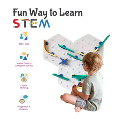 Oribel VertiPlay™ STEM Marble Run (Original Set - Crayon Edition) - showing the benefits of the system