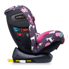 Cosatto All In All Plus ISOFIX Car Seat (Unicorn Land) - side view, shown here reclined and in forward-facing mode