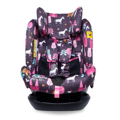 Cosatto All In All Plus ISOFIX Car Seat (Unicorn Land) - front view, shown here with headrest raised