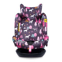 Cosatto All In All Plus ISOFIX Car Seat (Unicorn Land) - front view, shown with headrest fully raised and 5-point harness removed