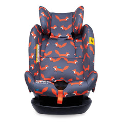 Cosatto All In All Plus ISOFIX Car Seat (Charcoal Mister Fox) - front view, shown with headrest fully raised and 5-point harness removed