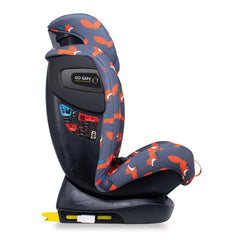 Cosatto All In All Plus ISOFIX Car Seat (Charcoal Mister Fox) - side view, shown with headrest fully raised and showing the Go-Safe side impact protection