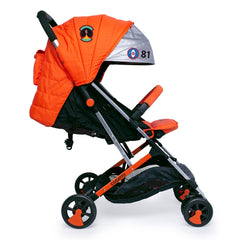Cosatto Woosh 2 Stroller (Spaceman) - side view, shown with the seat reclined and hood fully extended