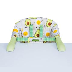 Cosatto Grub's Up Portable Highchair (Strictly Avocados) - front view, shown secured onto a table