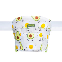 Cosatto Grub's Up Portable Highchair (Strictly Avocados) - rear view, shown secured onto a table