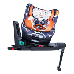 Cosatto RAC Come & Go i-Rotate i-Size Car Seat (Road Map) - side view, showing the seat rotated for ease of access