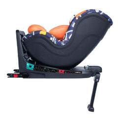Cosatto RAC Come & Go i-Rotate i-Size Car Seat (Road Map) - side view, shown in rear-facing mode with the seat reclined