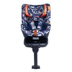 Cosatto RAC Come & Go i-Rotate i-Size Car Seat (Road Map) - front view, showing the seat in forward-facing mode without the newborn insert