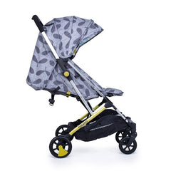 Cosatto Yay Stroller (Seedling) - side view, shown here with seat reclined, sun visor extended and leg rest raised