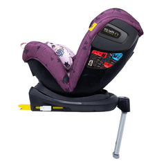 Cosatto All In All Rotate ISOFIX Car Seat - Group 0+123 (Fairy Garden) - side view, shown here in rear-facing mode with the seat reclined