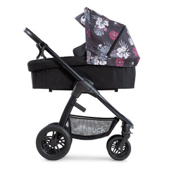 Hauck Saturn R Stroller & Carrycot Bundle (Wild Blooms) - side view, shown here as the pram