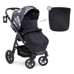 Hauck Saturn R Stroller & Carrycot Bundle (Wild Blooms) - side view, showing the pushchair in forward-facing mode with its apron