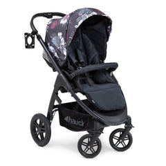 Hauck Saturn R Stroller (Wild Blooms) - quarter view, shown here in forward-facing mode