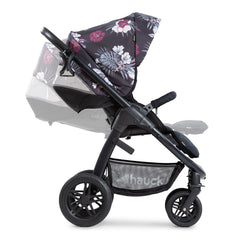 Hauck Saturn R Stroller (Wild Blooms) - side view, showing the adjustable seat and leg rest