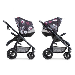 Hauck Saturn R Stroller & Carrycot Bundle (Wild Blooms) - side view, shown here in parent-facing and forward-facing modes