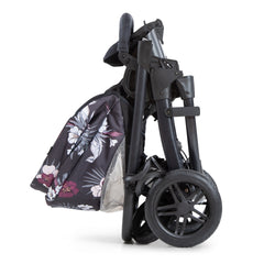 Hauck Saturn R Chassis (Wild Blooms) - side view, showing the stroller folded