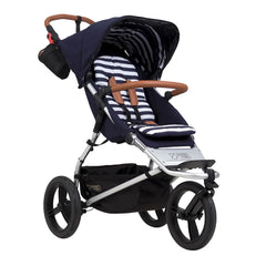 Mountain Buggy Urban Jungle - Luxury Collection Bundle (Nautical) - quarter view, showing the forward-facing pushchair