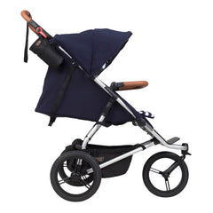 Mountain Buggy Urban Jungle - Luxury Collection Bundle (Nautical) - side view, shown with the seat reclined and the hood extended
