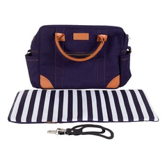 Mountain Buggy Urban Jungle - Luxury Collection Bundle (Nautical) - front view, showing the included changing bag with its mat and clips