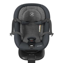Maxi-Cosi Mica 360 Rotative i-Size Car Seat (Authentic Graphite) - front view, showing the harness opened for baby