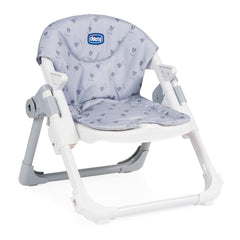 Chicco Chairy Booster Seat (Bunny Grey) - quarter view, shown here without its 3-point safety harness