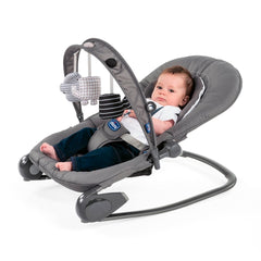 Chicco Hoopla Baby Bouncer (Moon Grey) - lifestyle image, shown here as the bouncer with an infant