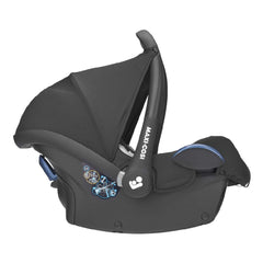 Maxi-Cosi CabrioFix Infant Carrier Car Seat (Essential Black) - side view, shown here with its canopy raised