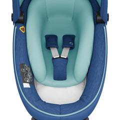 Maxi-Cosi Jade i-Size Car Cot (Essential Blue) - overhead view, showing the cot`s interior with its safety harness
