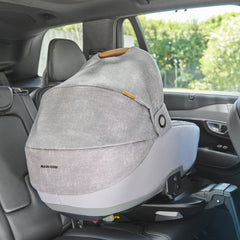 Maxi-Cosi Jade i-Size Car Cot (Nomad Grey) - lifestyle image, shown here installed in a vehicle