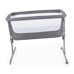 Chicco Next2Me Crib - Air (Dark Grey) - side view, shown here tilted