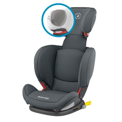 Maxi-Cosi RodiFix AirProtect Car Seat (Authentic Graphite) - quarter view, showing the internal construction of the protective headrest