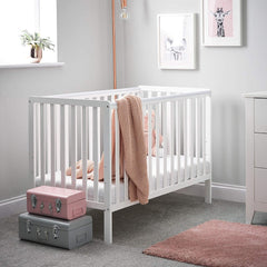 Obaby Bantam Cot - 120x60cm (White) - lifestyle image (mattress and accessories not included, available separately