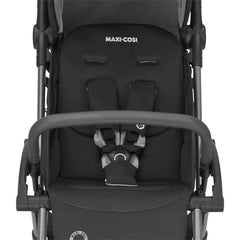 Maxi-Cosi Laika 2 Stroller (Essential Black) - front view, showing the pushchair`s safety harness and bumper bar