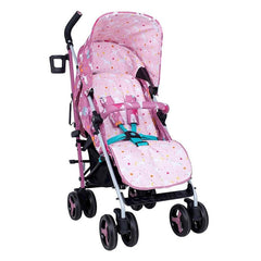 Cosatto Supa 3 Stroller (Dusky Unicorn Land) - quarter view, showing the summer liner section of the footmuff